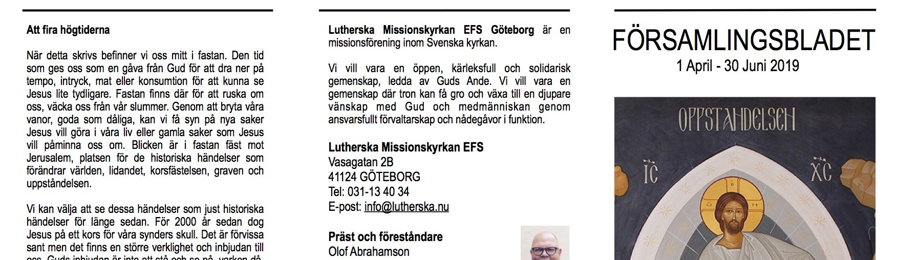 Församlingsblad april-juni 2019